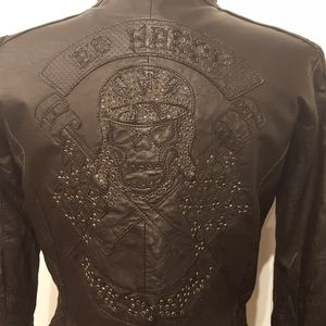 WOMENS  NEW ED HARDY LEATHER JKT.